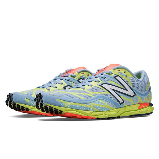 WOMEN'S New Balance 1600v2 Spikeless Ice Blue with Light Lime Yellow & Coral Pink