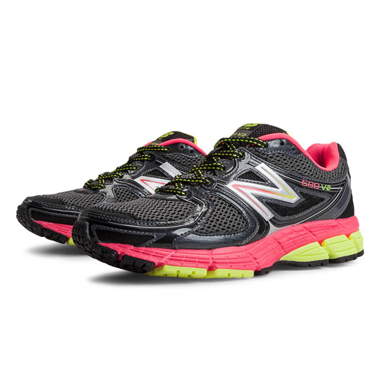 WOMEN'S New Balance 680v2 Black with Pink & Yellow