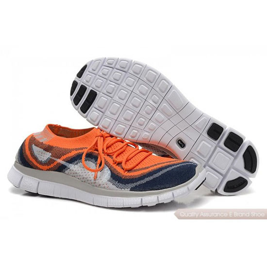 Nike Free Flyknit Womens Gray Orange White