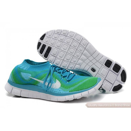 Nike Free Flyknit Womens Green Blue White