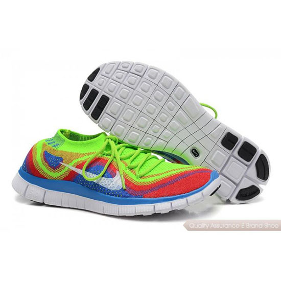 Nike Free Flyknit Womens Green Blue Red