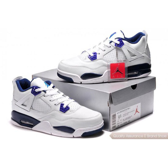 Nike Air Jordan 4 White Blue Shoes