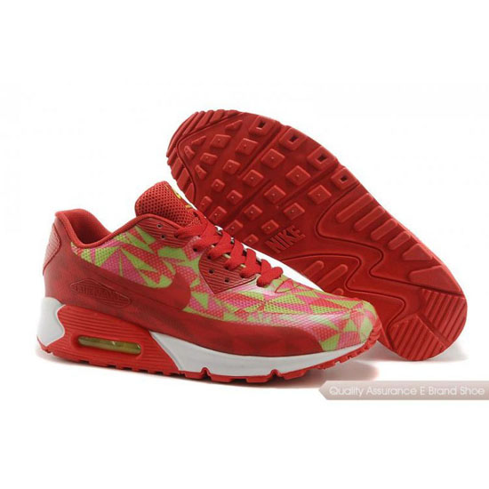 Nike Air Max 90 Hyperfuse Womens Red Green Yellow Shoes