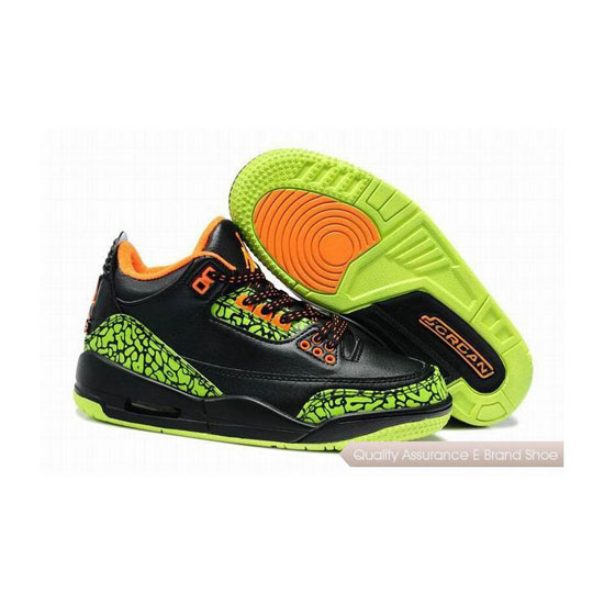 Nike Air Jordan 3 Kids Black Green Orange Sneakers