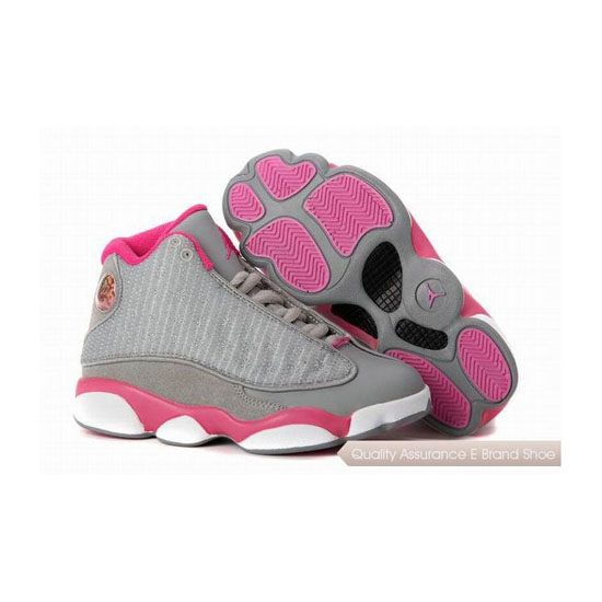 Nike Kids Jordan 13 Cool Grey/Fusion Pink-White Sneakers
