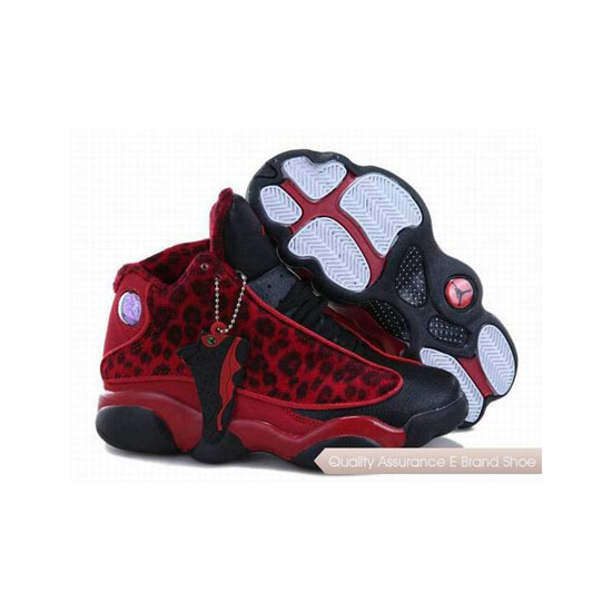 Nike Kids Jordan 13 Leopard Black Red Sneakers