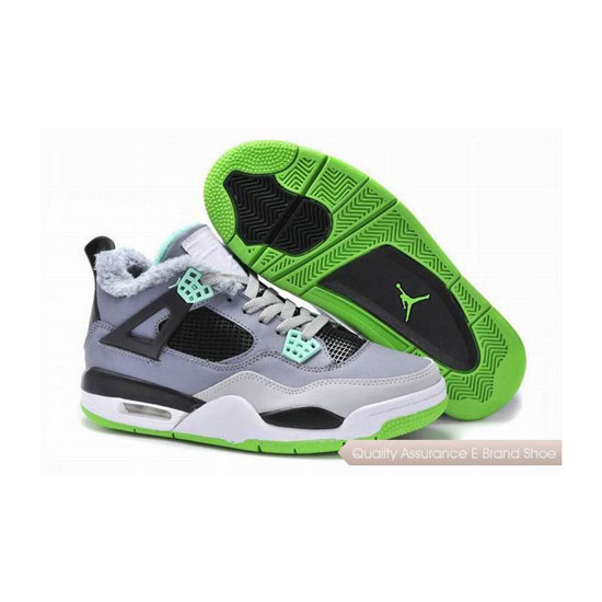 Nike Air Jordan 4 IV Green Grey Black With Fur Sneakers