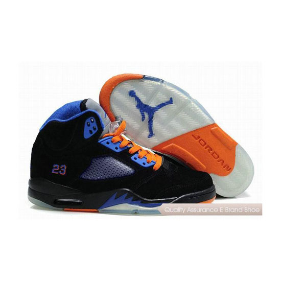 Nike Air Jordan 5 Fluff Black/Orange-Old Royal Sneakers