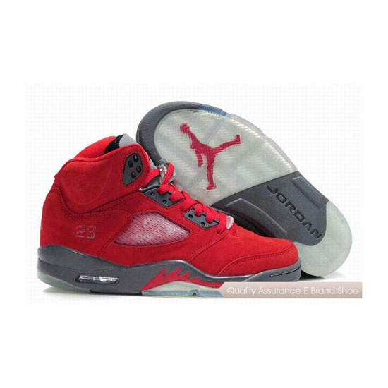 Nike Air Jordan 5 Fluff Fire Red/Grey-White Sneakers