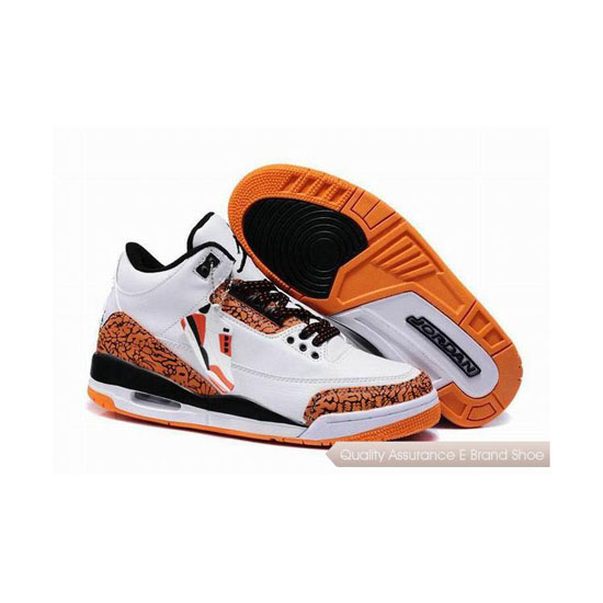 Nike Air Jordan 3 White-Black/Team Orange Sneakers