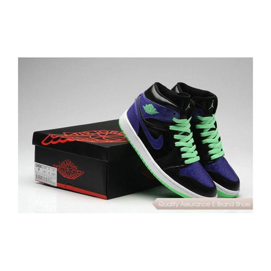 Nike Air Jordan 1 Mid Joker Black/Electric Green-Purple Sneakers