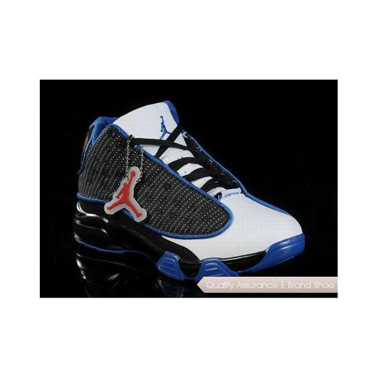 Nike Air Jordan 13 Big Kids Black White Blue Sneakers