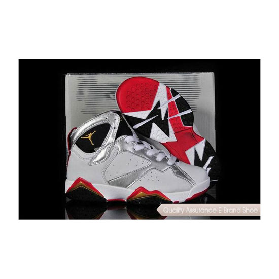Nike Kids Air Jordan 7 White/Metallic Gold-True Red Sneakers