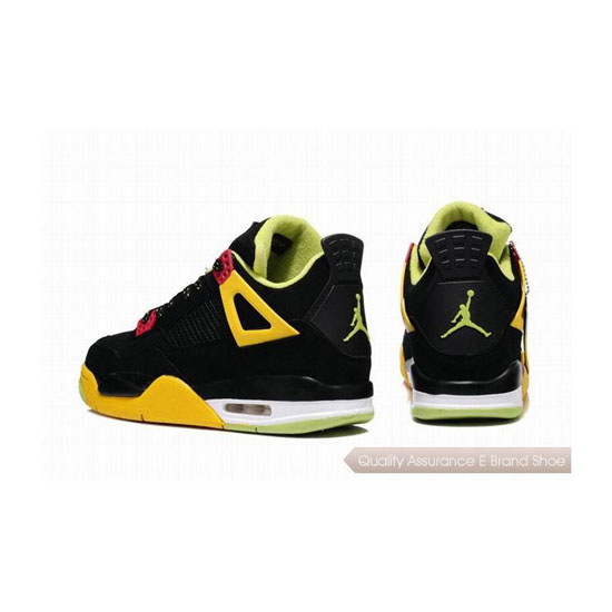 Nike Air Jordan 4 Retro Black Yellow Red Sneakers