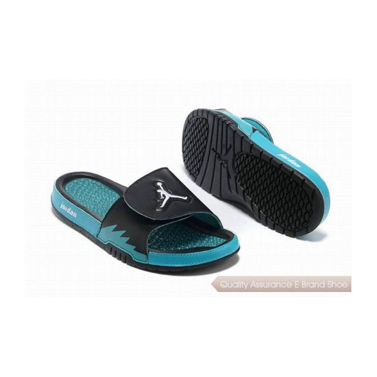 Nike Air Jordan Hydro 5 Slide Sandals Black Aqua Sneakers