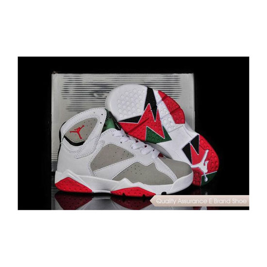 Nike Kids Air Jordan 7 White/Light Silver-True Red Sneakers
