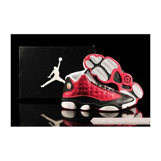 Nike Air Jordan 13 Mens Red Black White Sneakers