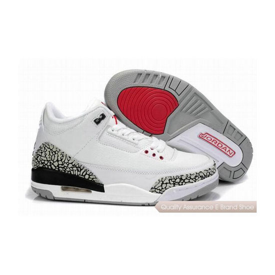 Nike Air Jordan 3 Retro White/Fire Red-Cement Grey Sneakers