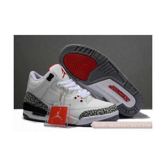 Nike Air Jordan 3 Womens White/Cement Grey-Black-Red Sneakers