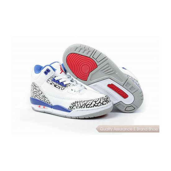 Nike Kids Jordan 3 White Blue Red Sneakers