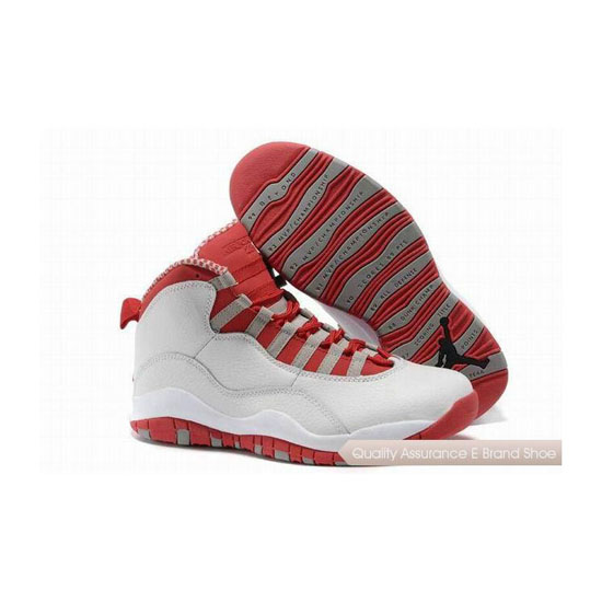 Nike Air Jordan 10 Retro White/Varsity Red-Steel Grey Sneakers