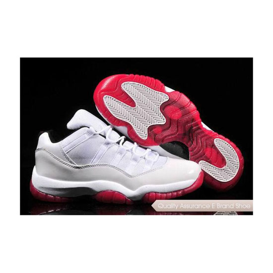 Nike Air Jordan 11 Low All White/Icy Red Sole Sneakers
