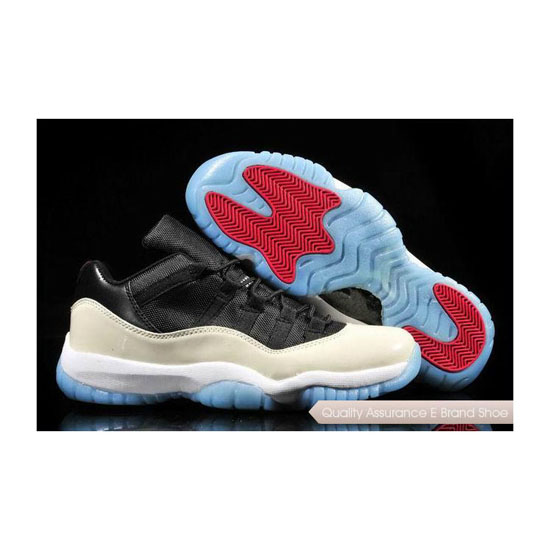 Nike Air Jordan 11 Low Black-White/Icy Blue Sole Sneakers