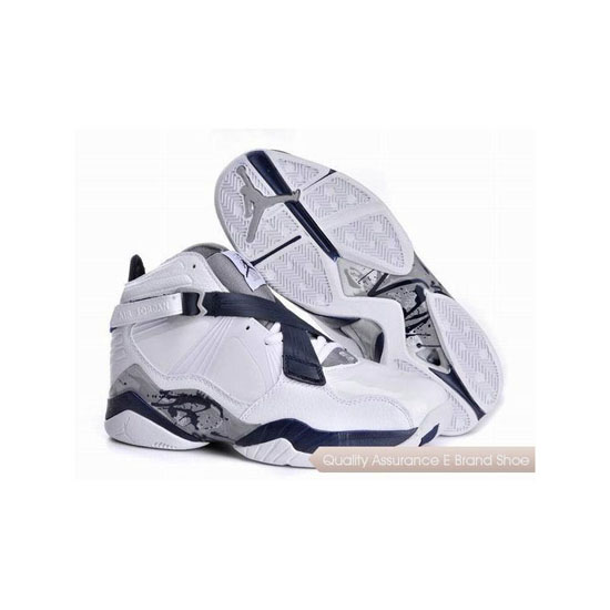 Nike Air Jordan 8 White Navy Blue Sneakers
