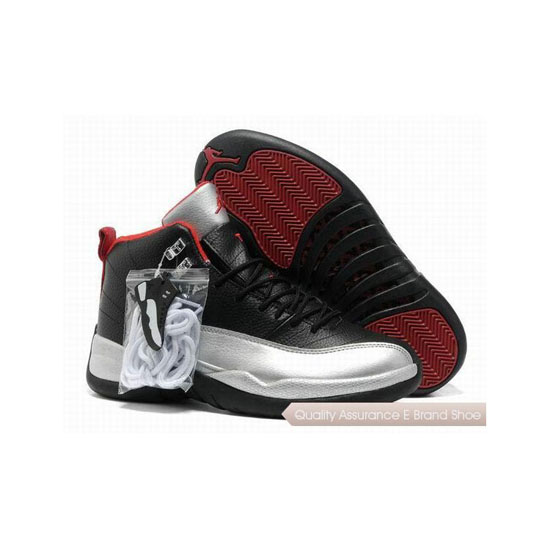 Nike Air Jordan 12 Black Silver Red Sneakers