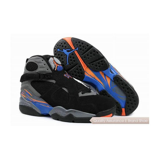 Nike Air Jordan 8 Black/Bright Citrus-Cool Grey-Deep Royal Sneakers