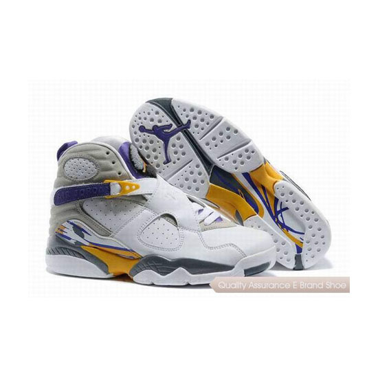 Nike Air Jordan 8 White Grey/Purple-Yellow Sneakers
