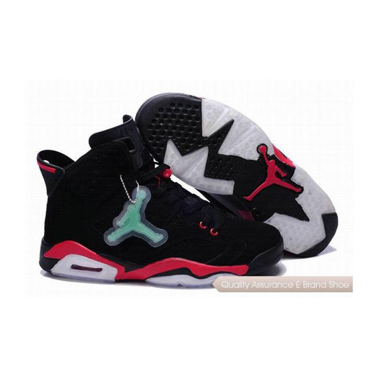 Nike Air Jordan 6 Black Red with Jade Tag Sneakers