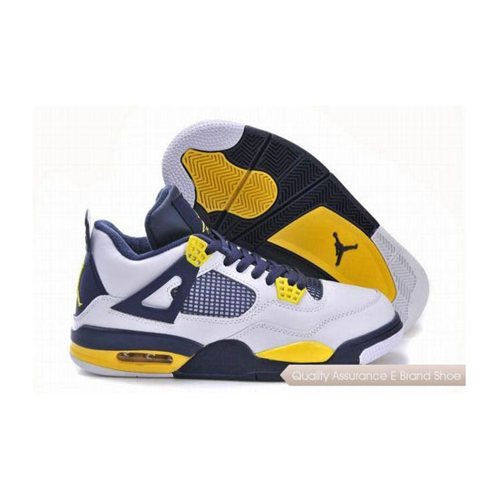 Nike Air Jordan 4 IV White-Navy Blue/Tour Yellow Sneakers