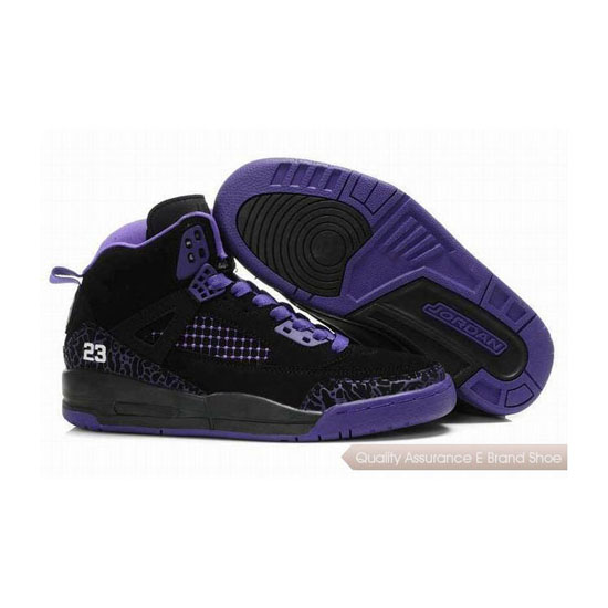 Nike Jordan Spizike Womens Embroidery Black Purple Sneakers
