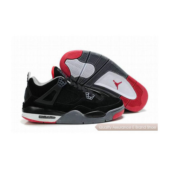 Nike Air Jordan 4 Retro Suede Black Red Sneakers
