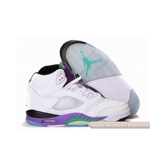 Nike Air Jordan 5 White/Emerald-Grape-Ice Blue Sneakers
