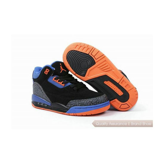 Nike Kids Jordan 3 Black Blue Orange Sneakers
