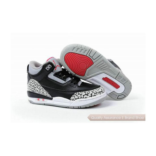 Nike Kids Jordan 3 Black Grey Red Sneakers