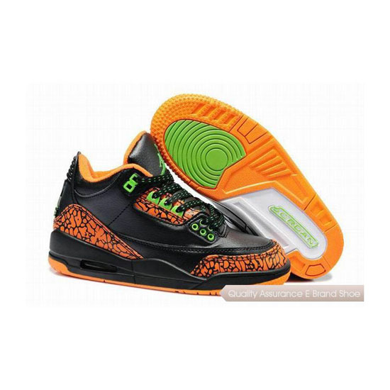 Nike Air Jordan 3 Kids Black Orange Sneakers