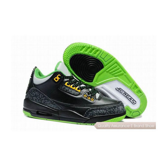 Nike Air Jordan 3 Kids Black/Neon Green Sneakers