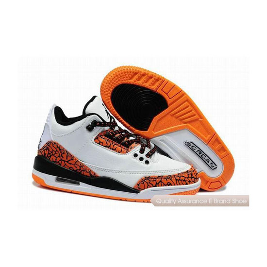 Nike Air Jordan 3 Kids White Black Orange Sneakers