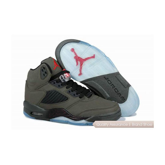 Nike Air Jordan 5 Retro Fear Sequoia/Fire Red-Black Sneakers