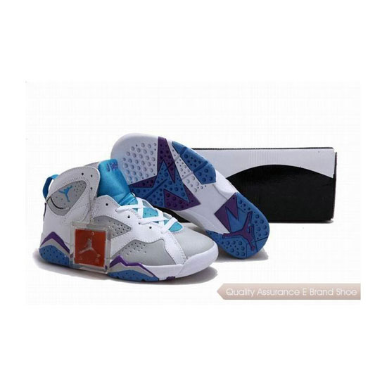 Nike Air Jordan 7 Womens White/Pacific Blue/Purple Sneakers