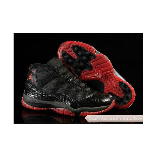 Nike Air Jordan 11 Retro Snakeskin Black Red Sneakers