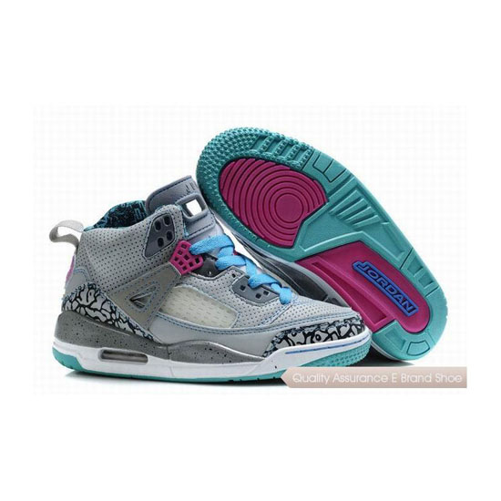Nike Kids Jordan Spizike Grey/Aqua Blue Sneakers