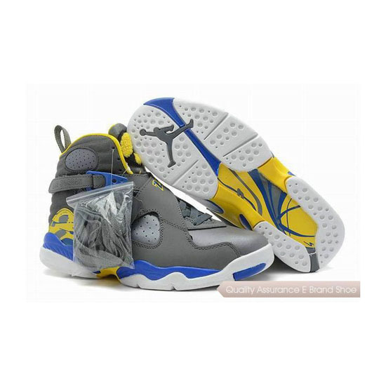 Nike Air Jordan 8 Retro Cool Grey/Violet Force Sneakers
