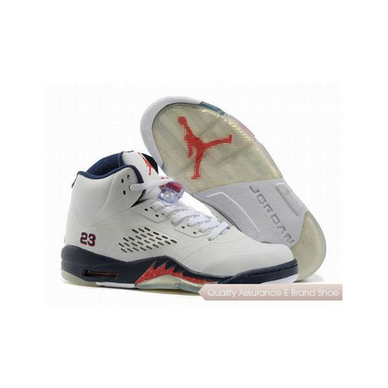 Nike Air Jordan 5 White Red/Navy Blue Sneakers