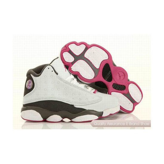 Nike Kids Jordan 13 White Grey Pink Sneakers