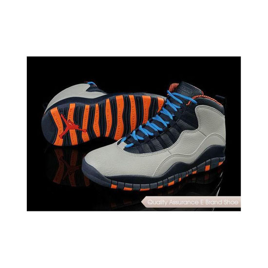 Nike Air Jordan 10 Retro Grey-Blue-Orange Sneakers