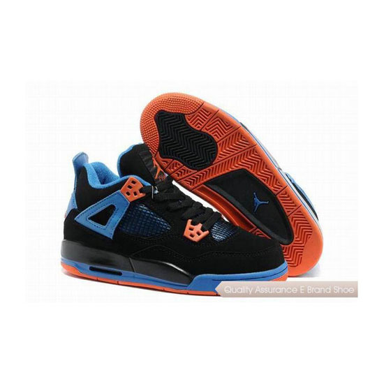 Nike Air Jordan 4 Womens Black/Safety Orange-Game Royal Sneakers